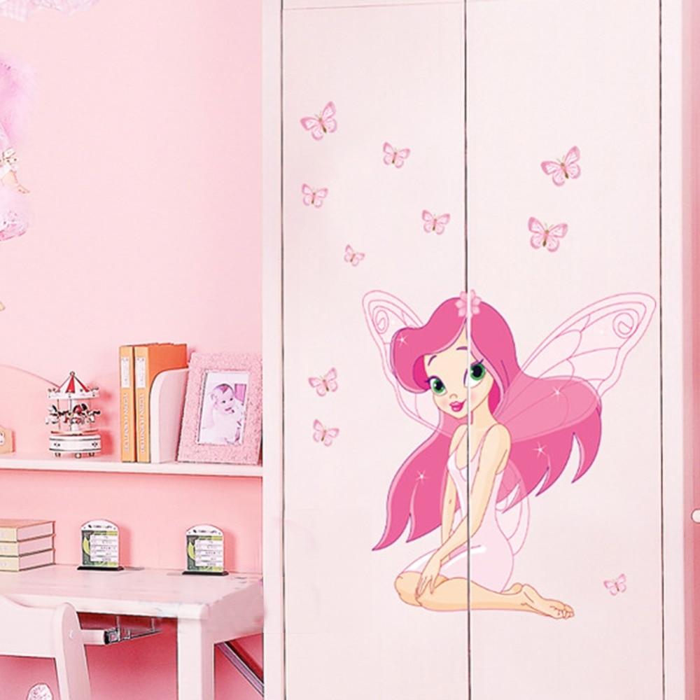 Aliexpress.com: Compre Beautiful Fairy Princess Butterly Decalques Arte  Mural Adesivo De Parede Crianças Decoração Do Quarto Menina Rosa Cor De  Confiança ... Part 86