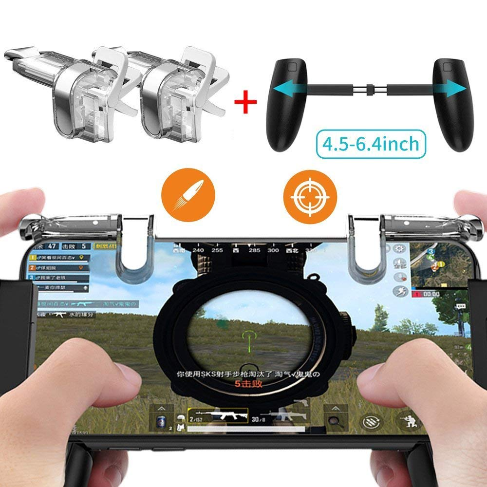 Wrumava For PUBG STG FPS Game Trigger Cell Phone Mobile Controller Fire Button Gamepad L1R1 Aim Key Joystick for iphone Samsung