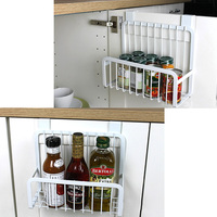 1 Piece Cabinet Bottom Rack Shelf Kitchen Iron Hook Hang Organizer Storage Dish Racks White Storage