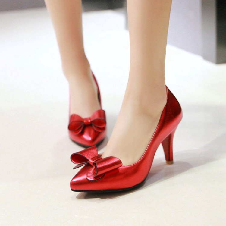 2017 Spring/autumn shoes woman pointed toe butterfly-knot high heels wedding shoes red clear colors elegant women's shoes pumps new flock high big size 11 12 women shoes wedges pointed toe woman ladies butterfly knot casual spring autumn sweet single shoes