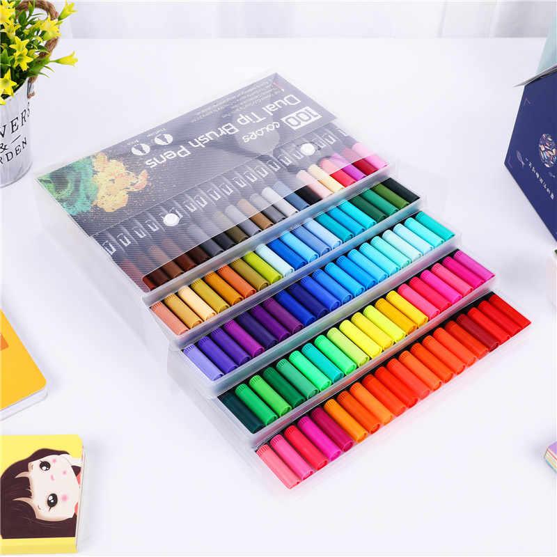 برأسين الفنان فرشاة ألوان مائية مجموعة أقلام الفن علامات فرشاة لينة القلم هوك خط القلم مكتب المدرسة الفن الكتابة لوازم