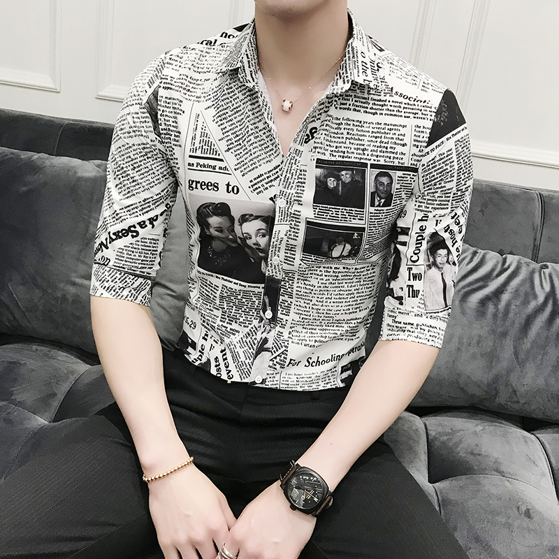 Brand Designer Men Shirt Summer Korean Slim Fit Newspaper Digital Print Tuxedo Shirt Men Half Sleeve Casual Business Work Shirts