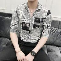 Brand Designer Men Shirt Summer Korean Slim Fit Newspaper Digital Print Tuxedo Shirt Men Half Sleeve