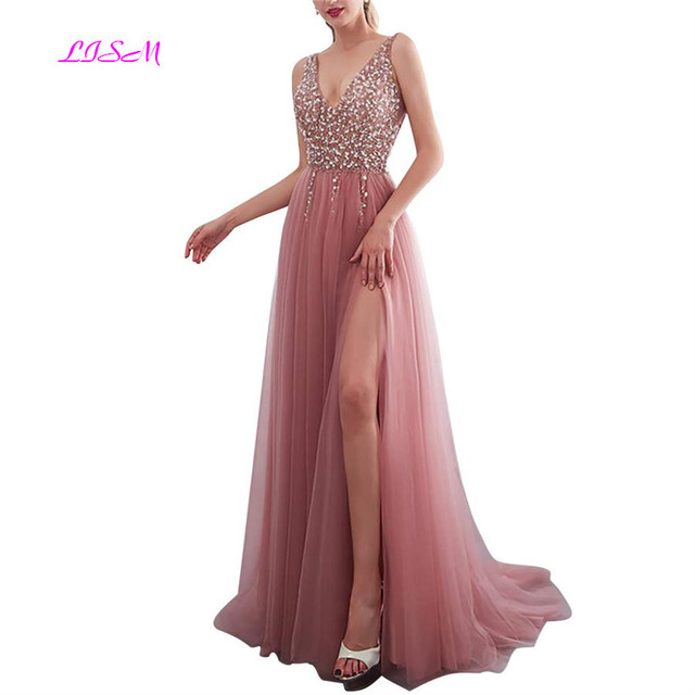 9d26177fd6 Gorgeous-Beaded-Crystals-Prom-Dresses-Sexy-High-split-V-neck -Long-Tulle-Evening-Dress-Custom-Party.jpg 640x640.jpg