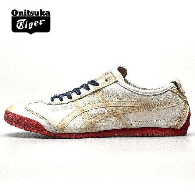 29e06b48af475 ONITSUKA TIGER MEXICO 66 Mulheres dos homens originais Sapatos de couro de  pele de Carneiro Branco