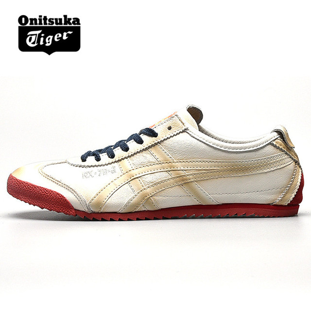 242f03804205 Original ONITSUKA TIGER MEXICO 66 Men s Women Shoes Sheepskin leather White  and red Unisex Low Classic Sneakers Badminton shoes