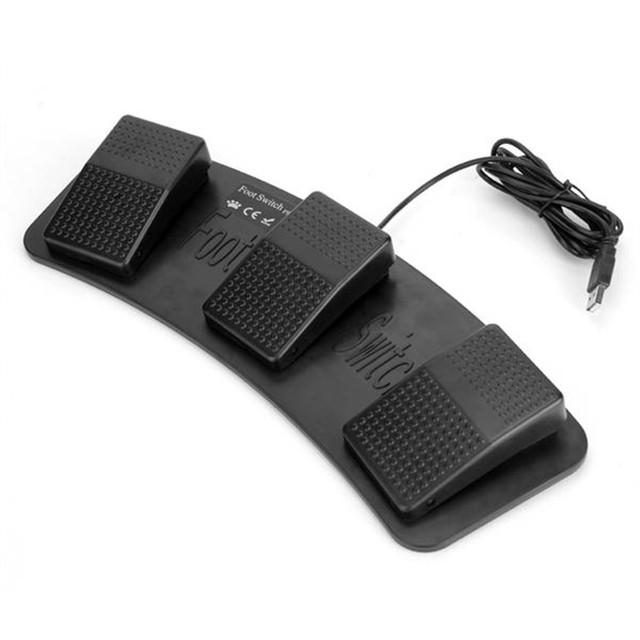 FS3-P USB Foot Switch Pedal Triplo Controle de Teclado e Mouse Jogo para PC Plástico