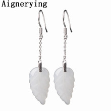 vintage 925 silver Jade Earrings With Gift Box Certificate Natural White Leaf Jewelry Dangle for Women Girl Jewellery