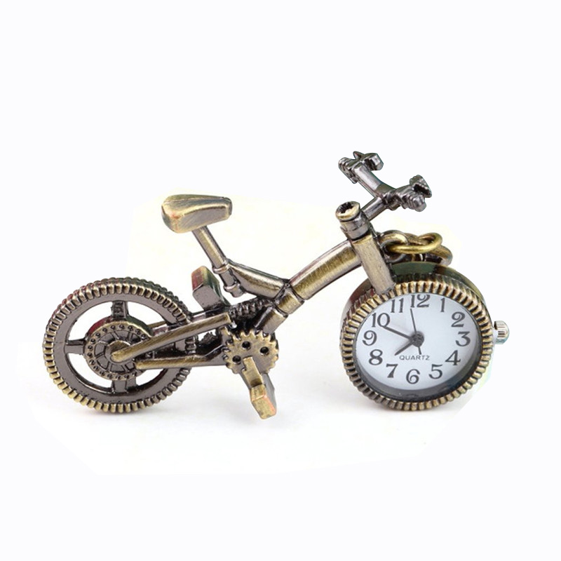 Vintage Charm Steampunk Pocket Watch Bronze Bicycle Quartz Pocket Watch For Men Women Creative Necklace Pendant Clock Chain