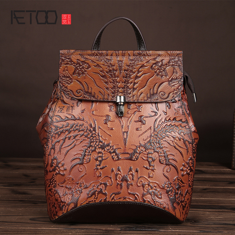 AETOO The new retro leather fashion trend shoulder bag leather hand rub color women bag college wind Korean version of the backpAETOO The new retro leather fashion trend shoulder bag leather hand rub color women bag college wind Korean version of the backp