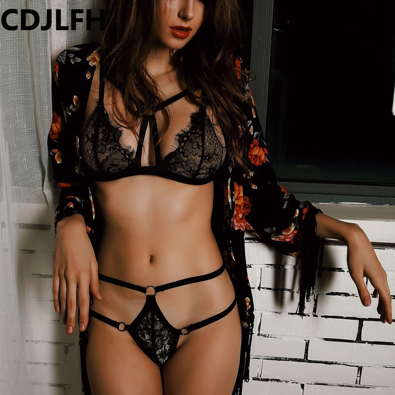 Women   Bra   And Panty Sexy   Bra     Set   Up Lace Transparent Underwear Womens Lenceria Femenina 2018 Femme Black Woman Cute Lingerie Hot