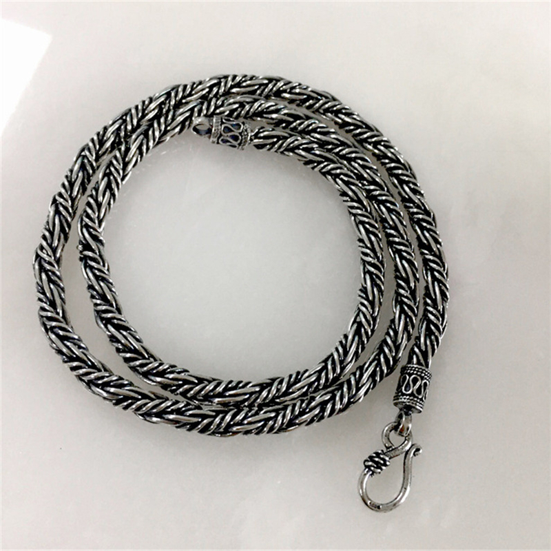 Men Solid Pure Sterling Silver 4 0mm Chain Necklace Blacken Oxide Silver 925 Chunky Necklace Fashion