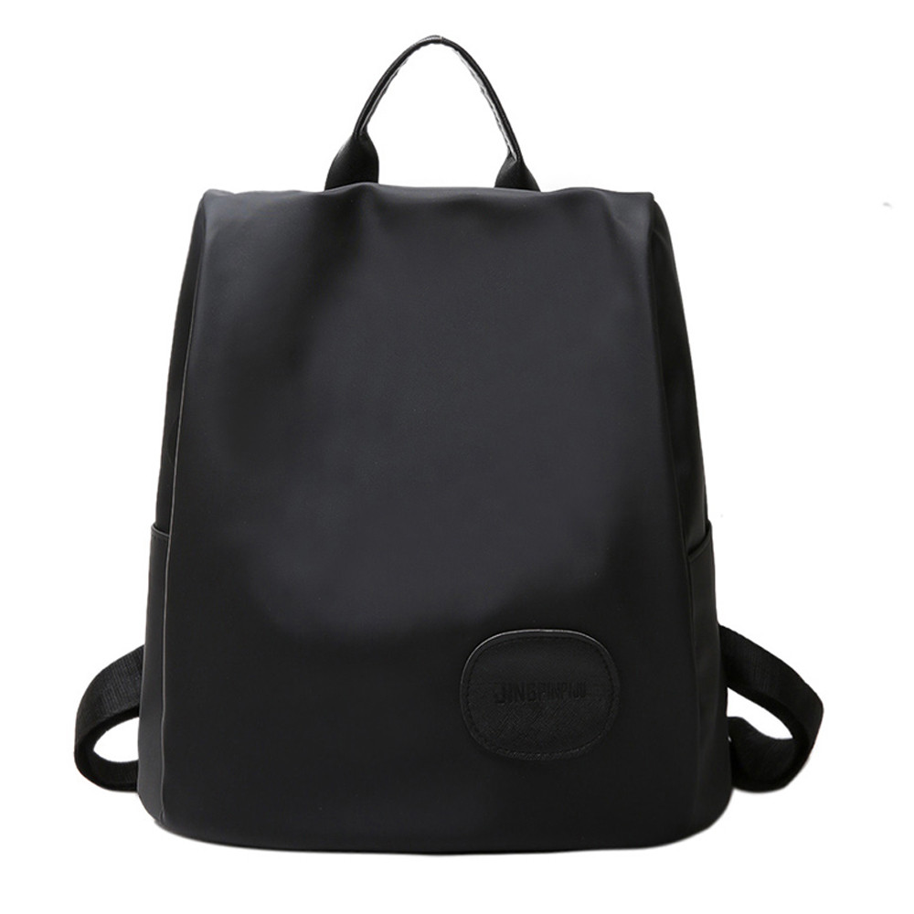Women Leather Backpacks Schoolbags Travel Shoulder Bag Solid Black Backpack Girls Backpack Woman Back Pack Rucksack ...