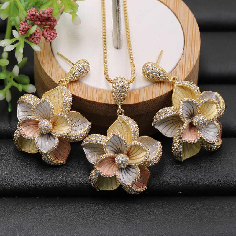Lanyika Jewelry Set Dubai Indian Elegant Flowers Necklace with Earrings for Engagement Banquet Wedding Popular Luxury Best Gifts