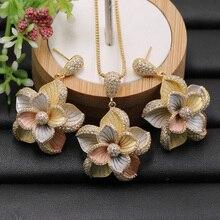 Lanyika ชุดเครื่องประดับดูไบอินเดีย Elegant ดอกไม้สร้อยคอต่างหูหมั้นจัดงานแต่งงานยอดนิยมที่ดีที่สุดของขวัญ