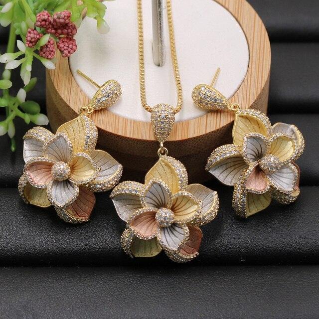 Lanyika תכשיטי סט דובאי הודי אלגנטי פרחי שרשרת עם עגילים עבור אירוסין אירועים חתונה פופולרי יוקרה הטוב ביותר מתנות