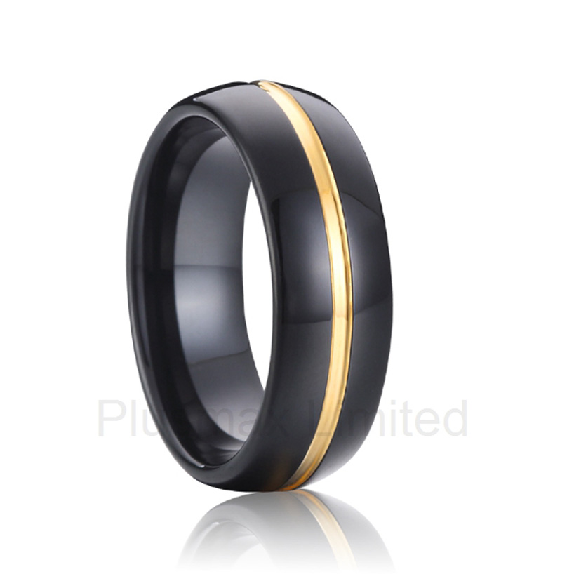 black gold color titanium wedding band fashion jewelry tungsten