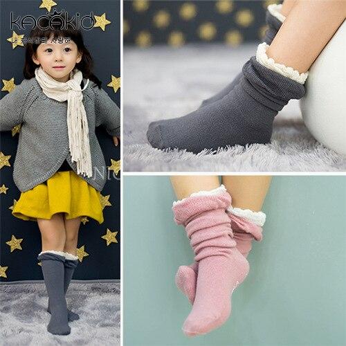 LYONAVA 2pair 2018 new spring autumn childrens new lovely girls cotton black fungus edge fungus princess mid-calf length sock