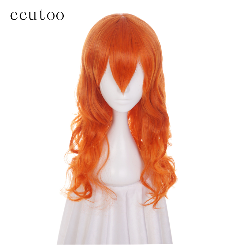 ccutoo 65cm Nami Orange Curly Long M Shape Hairstyles Synthetic Wig For Women's Cosplay Wig Heat Resistance Party Costume Wigs