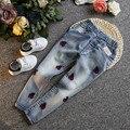 Crianças primavera outono denim roupas calças criança Crianças calças de Brim Calças de Jeans para Meninas cereja