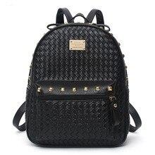 Старинные случайные заклепки малый кожа PU дорожные сумки высокое качество new kids fashion женщины конфеты сцепления известный школьные рюкзаки AXB30