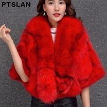 Ptslan Hot Real Fur Coat Fashion Women Pieces Natural Fox Fur Vest Coats Short Style Real