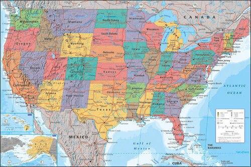 Cartel de mapa de los Estados Unidos, cartel para pared decorativa de seda de Estados Unidos, pintura de 24x36 pulgadas Blanco verde azul 3 colores piedras plata Color juegos de joyas para mujer COLLAR COLGANTE pendientes anillos EEUU tamaño caja de regalo gratis