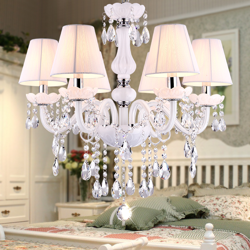 Nova moderna branco lustres de cristal para sala estar quarto lâmpada interior k9 lustres de teto