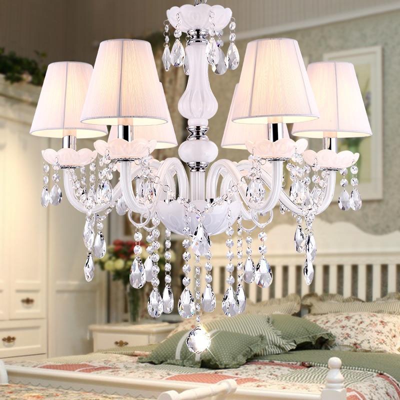 Nowe nowoczesne białe żyrandole kryształowe do salonu sypialnia lampa wewnętrzna K9 crystal nabłyszczania de teto żyrandol podsufitowy