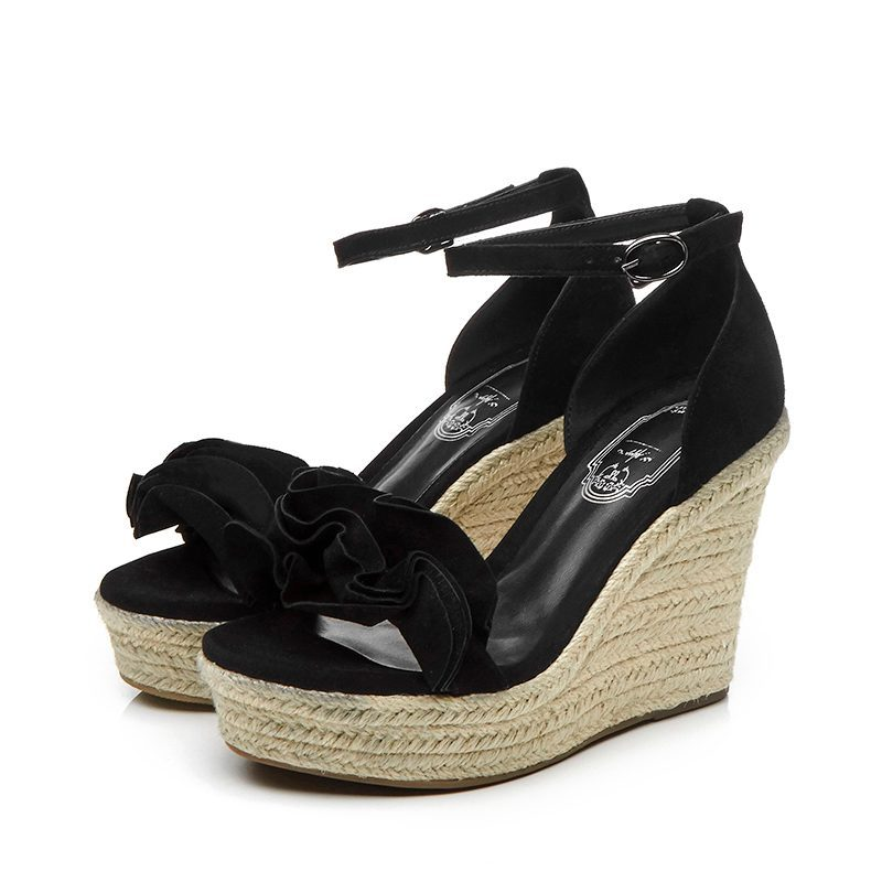 Ayakk.'ten Yüksek Topuklular'de 2019 Moda Superstar Marka Yaz Ayakkabı Ayak Bileği Kayışı Platformu Peep Toe Kadın Sandalet Pist Takozlar Yüksek Topuklu rahat ayakkabılar L65'da  Grup 2