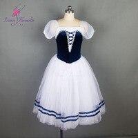18700 Dance Favourite Navy Blue Velvet Bodice Romantic Ballet Tutu Stage Performance Ballet Costumes Ballerina Long Tutu