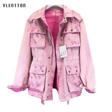 High Quality Spring Vintage Pink Denim Jacket Women Single Breasted Hole Female