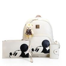 3 пакета(ов) 2017 г. Новая модная женская рюкзак колледж ветры качество Искусственная кожа женская сумка принт Микки школьная сумка дорожная Сумка