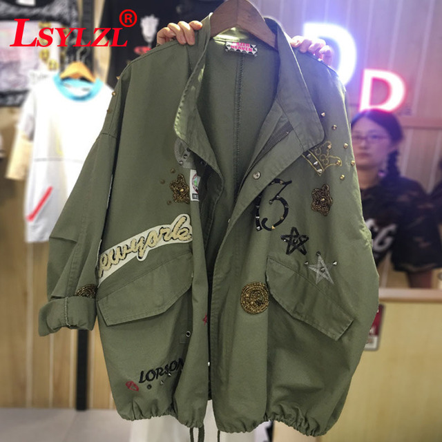 f17a1b701ba New 2018 Military Style Spring Jacket Women Plus Size XL-5XL Casual  Embroidery Long Sleeve