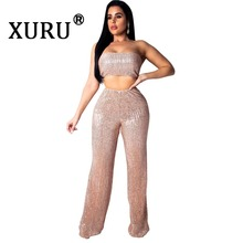 XURU summer new womens hot sale sequins jumpsuit two-piece fashion sexy tube top piece trousers club party
