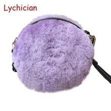 Fall winter hotsale real sheep fur hair +genuine leather women shoulder bag cell phone mini hangbag warm feminina circular bag