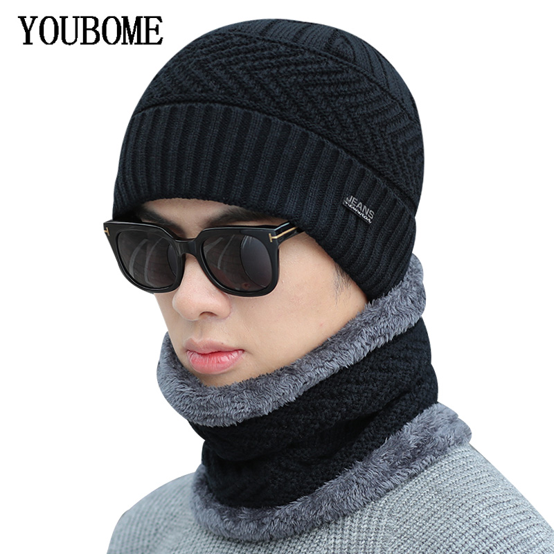 YOUBOME Brand Men   Skullies     Beanies   Winter Hats For Women Knitted Hat Scarf Men Warm Neck Thick Male Ring Winter   Beanie   Hat Cap