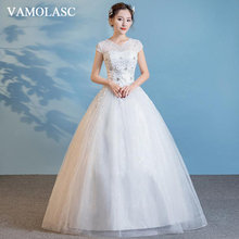 VAMOLASC Crystal V Neck Lace Appliques Ball Gown Wedding Dresses Illusion Short Cap Sleeve Backless Bridal Gowns
