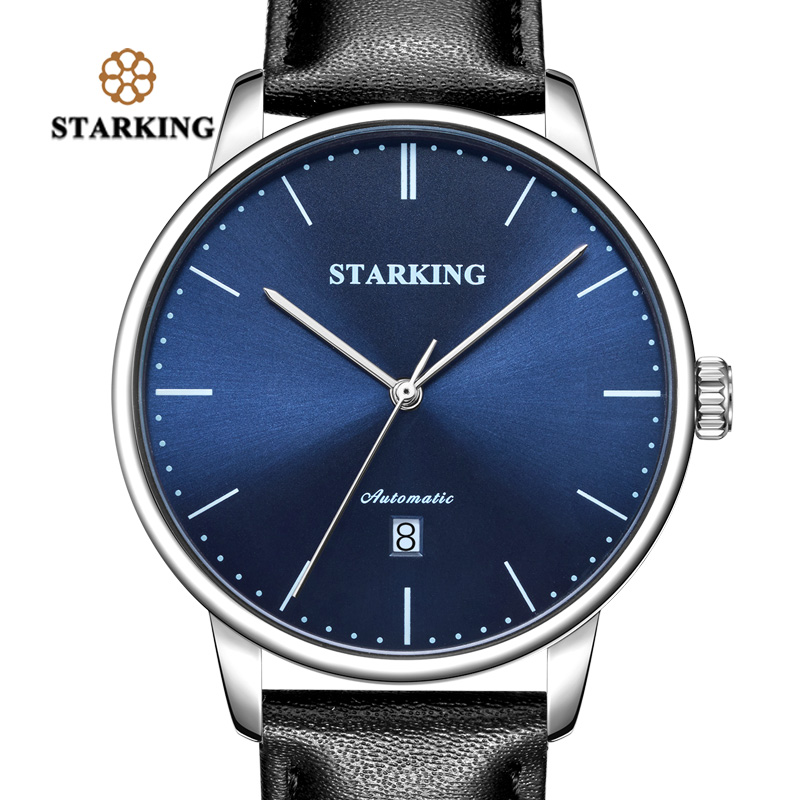 <font><b>STARKING</b></font> Men Mechanical <font><b>Watch</b></font> TM0915 Genuine Leather Casual Business Retro Wristwatch Auto Date Automatic Male Clock 3ATM image