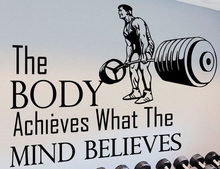 Gym Vinyl Wall Decal Quotes Sport The Body Achieves Mural Sticker Centre Bedroom Fitness Home Decoration
