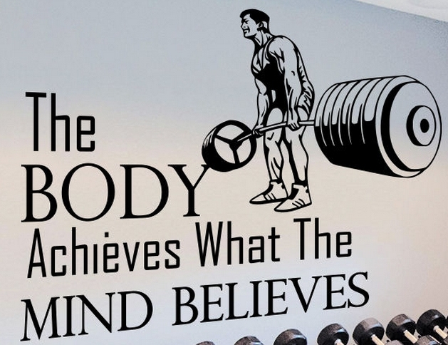 gym vinyl wall decal quotes sport the body achieves gym mural wall