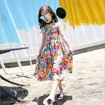 2018 Brand Summer Girls Print Floral Bohemian Dress Wide Leg Pants Jumpsuit Kid School Lovely Sport Personality Party Dress