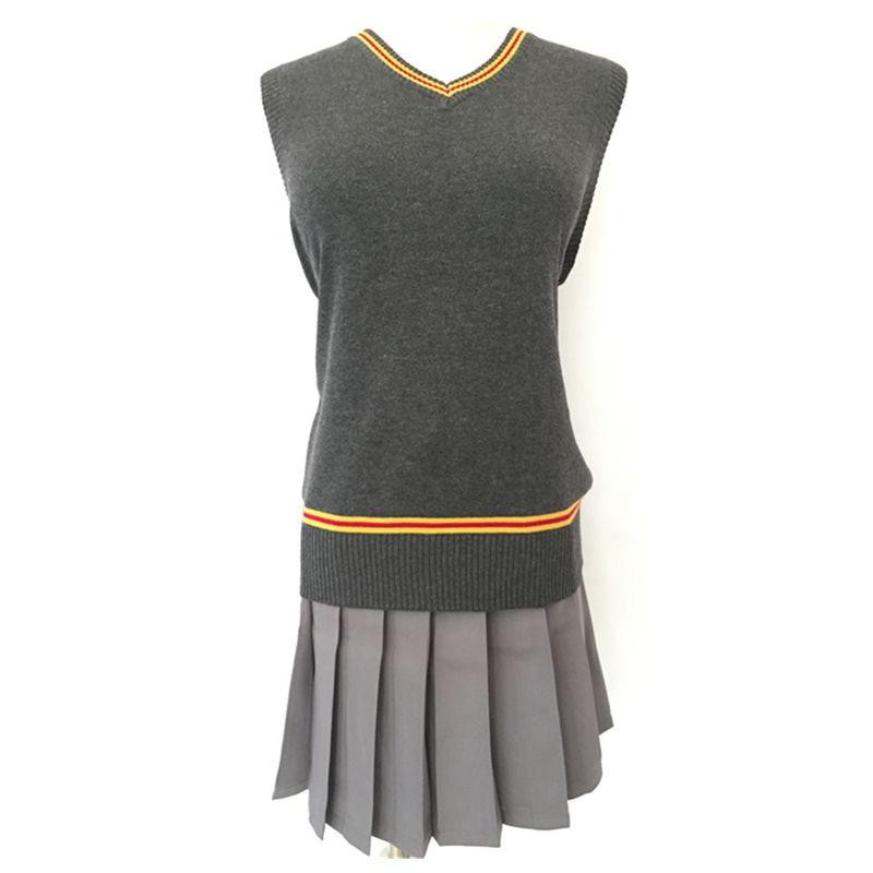 Ainiel Magic School Hermione Waistcoat and Skirt Halloween Gryffindor Cosplay Costume Women Girls Sweater Vest Skirts