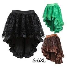 S 6XL Victoria Bất Đối Xứng Xù Lông Satin & Viền Ren Gothic Váy Nữ Áo Đầm Vintage Phong Cách Khoa Học Viễn Tưởng Váy Trang Phục Hóa Trang