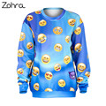 Zohra Autumn Winter Emoji Blue Gradient Print Fashion Hoodies Long Sleeve Tracksuit Sudaderas Mujer Pullovers Women Sweatshirts