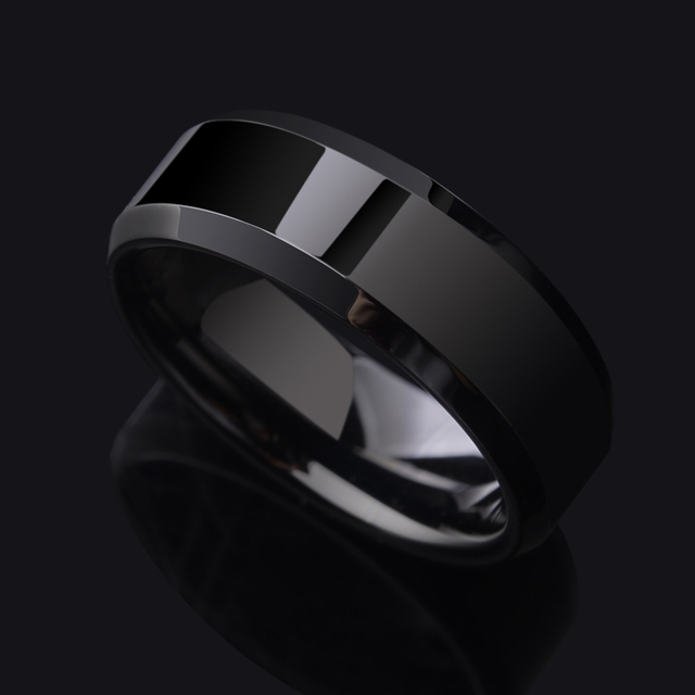 Silver and Black Two Tungsten Carbide Rings