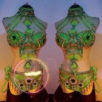 Блестящими кристаллами Женские Боди sexy выдолбленные серебристый Стразы комбинезон бар DJ певица Танцы группы костюмы для выступлений