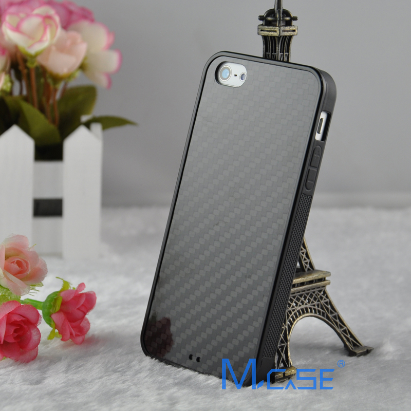 Anti Slide Full Sides Protective TPU Real Carbon Fiber Case Cover For iPhone 5S SE 6S