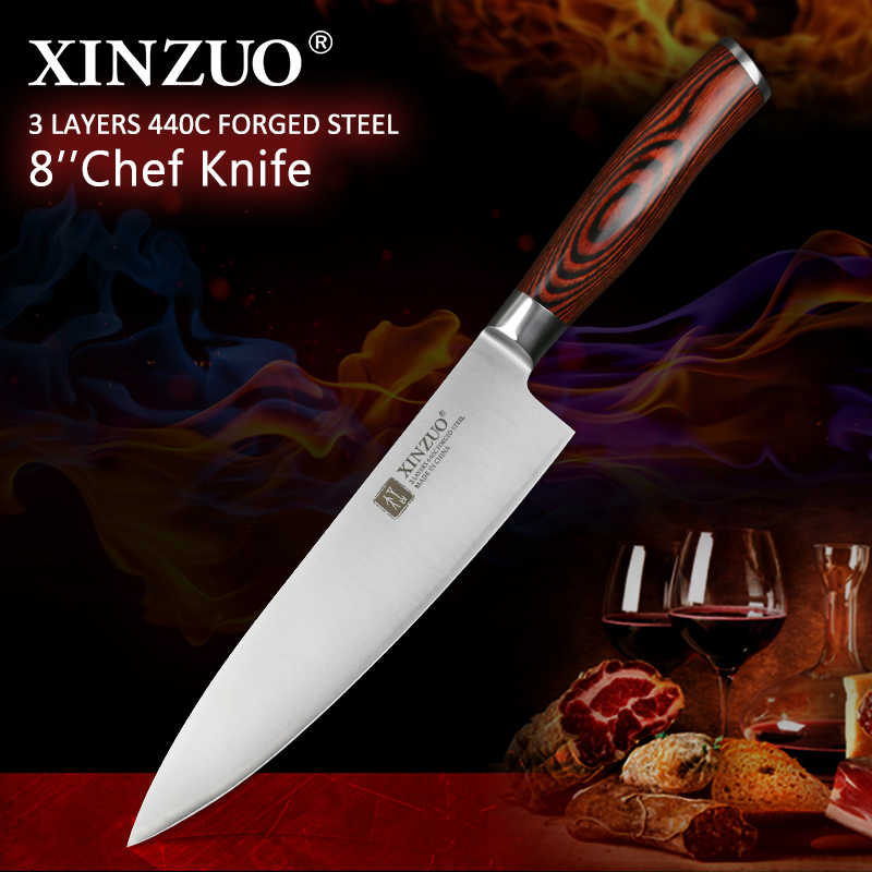 XINZUO 8'' inch Chef Knife German 3 layers 440C Clad Steel with Pakka Wood Handle Kitchen Knives Stainless Steel Gyuto Knives
