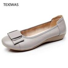 Texiwas 여성 신발 여성 정품 가죽 플랫 신발 캐주얼 작업로 퍼 발레 플랫 새로운 패션 여성 플랫 플러스 크기 34 43